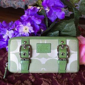 Rare coach signature fabric zip around wallet